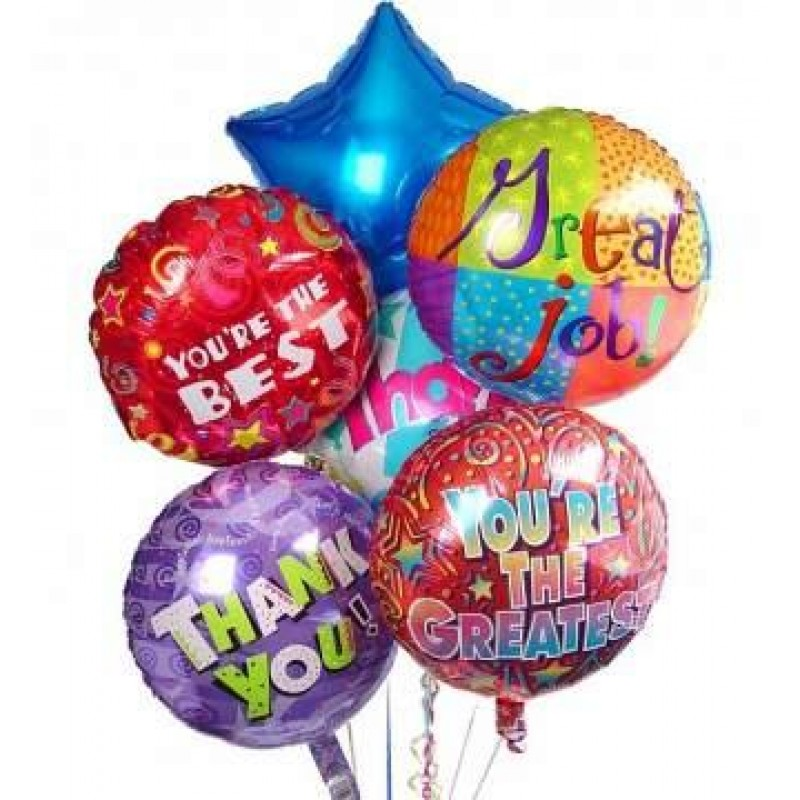 Balloon Bouquet 6 Foil Helium Balloons Perth Delivery