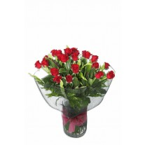 1 Dozen Long Stem Red Roses in Glass Vase
