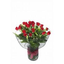 1 Dozen Long Stem Red Roses in Glass Vase