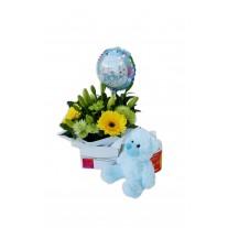 Baby Boy Flower Arrangement with Teddy & Balloon