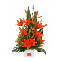 Funky Liliums in Ceramic Flower Arrangement