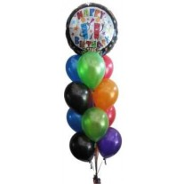 Happy Birthday Singing Balloon with 6 Latex Balloons Bouquet