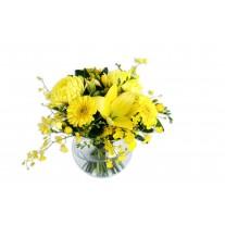 Ruth Bright Flower Arrangement in Glass Fish Bowl