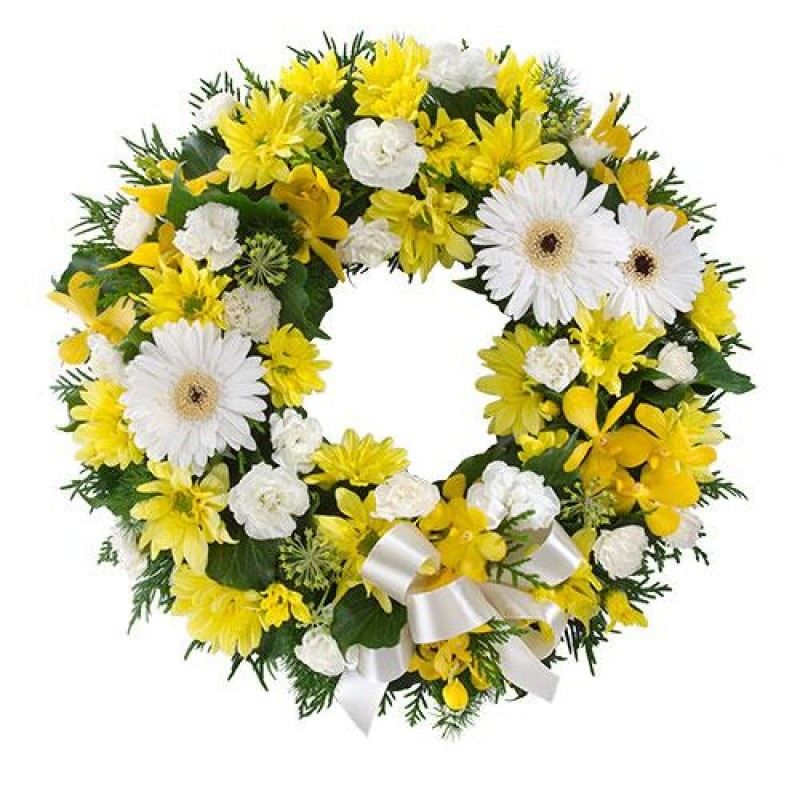 Yellow Amp White Funeral Wreath Perth Perth Funeral Flowers